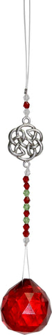 Celtic with Red Crystal Cut Glass Sun Catcher