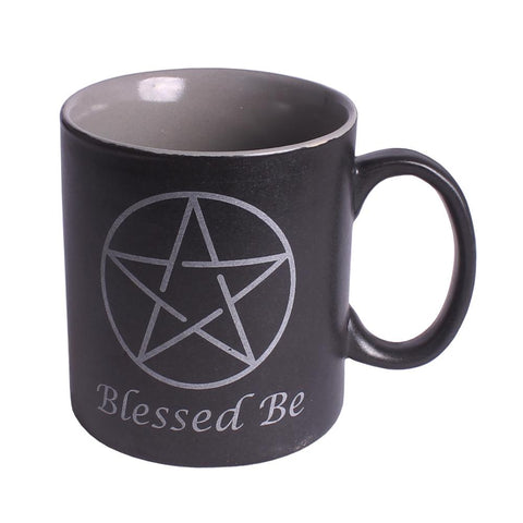 'Blessed Be' Pentacle Black Ceramic Mug