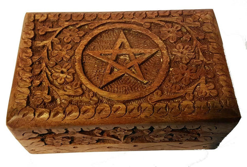 "Pentacle Wooden Box 6"" x 4"""