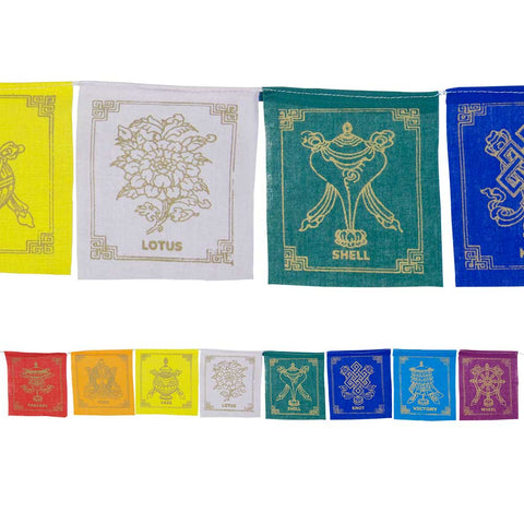 8 Auspicious Symbols Prayer Flag - 1 Metre