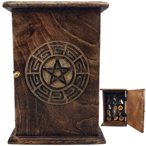 Pentacle Engraved Key Holder Cabinet 25cm x 17.5cm x 7.5cm