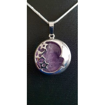 Amethyst Moon & Stars Pendant - Silver Plated