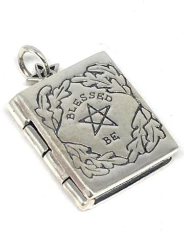 "Book Of Shadows ""Blessed Be"" Locket Pendant 925 Sterling Silver"