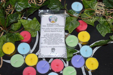 Elemental Tea Light Candles Set - Lyllith Dragonheart