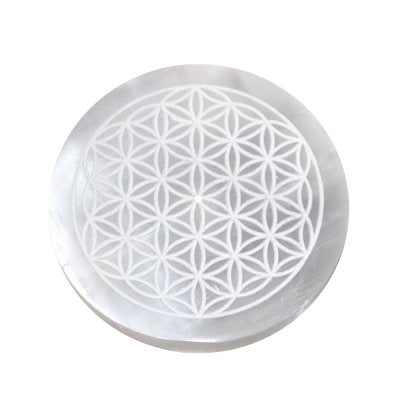 Flower of Life Selenite Incense Burner