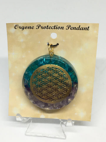 Flower of Life Blue Topaz & Amethyst Orgone Protection Pendant