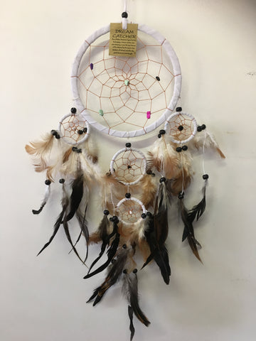 White Dream Catcher Leather and Stone Chips 16cm