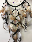 Black Dream Catcher Leather with Stone Chips 16cm
