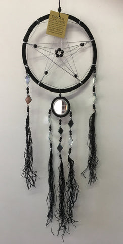 Black Pentagram Dream Catcher with Mirrors 16cm