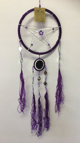 Purple Pentagram Dream Catcher with Mirrors 16cm