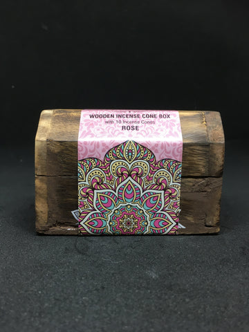 Karma Scents Wooden Incense Cone Boxes - Various Scents