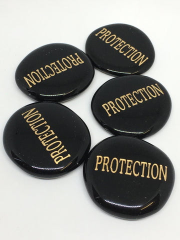 Black Obsidian Word Stone - Protection