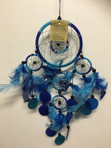 Blue/Aqua Double Ring with Shell Dream Catcher  11cm