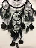 Black Double Ring with Shells Dream Catcher 11cm