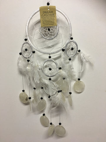 White Double Ring with Shells Dream Catcher 11cm