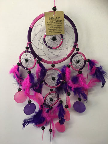 Pink/Purple Double Ring with Shell Dream Catcher 11cm