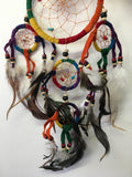 Rainbow Leather Dream Catcher with Stone Chips 12cm