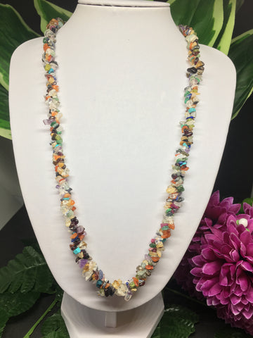 Mixed Stone Chips Twisted Necklace 28""