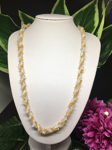 Citrine & Clear Quartz Chip Twisted Necklace 28""