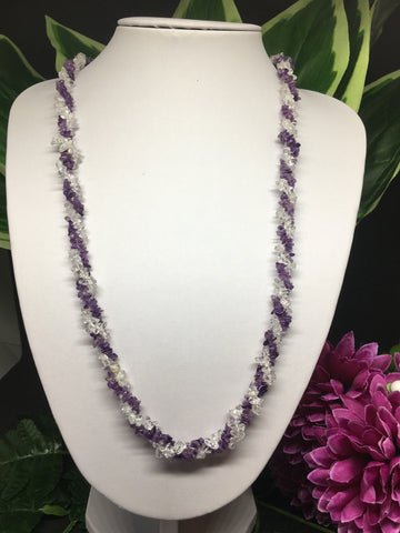 Amethyst & Clear Quartz Twisted Chip Necklace 28""