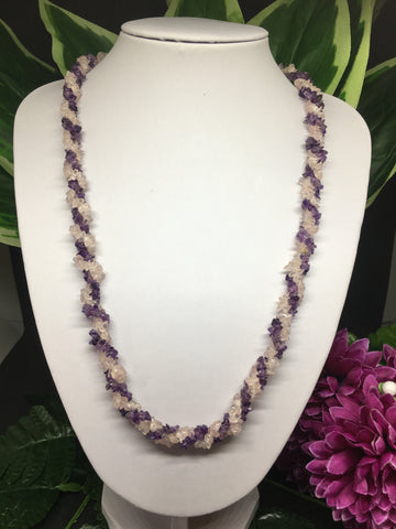 Amethyst & Rose Quartz Twisted Chip Necklace 28""