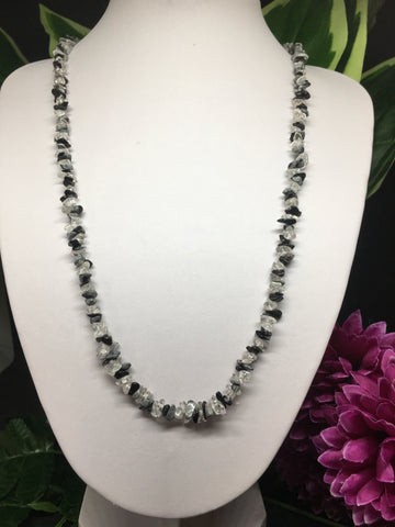 Black Obsidian & Clear Quartz Chip Necklace 32""
