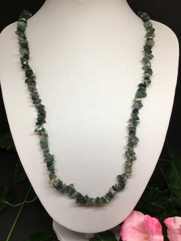 Moss Agate Chip Necklace 90cm