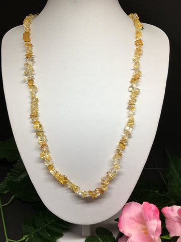 Citrine Chip Necklace 90cm