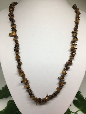 Tigers Eye Chip Necklace 90cm