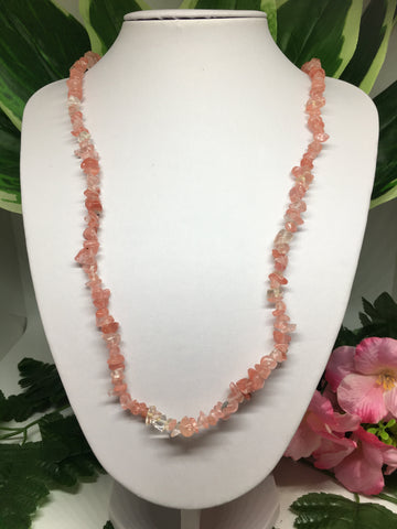 Cherry Quartz Chip Necklace 90cm