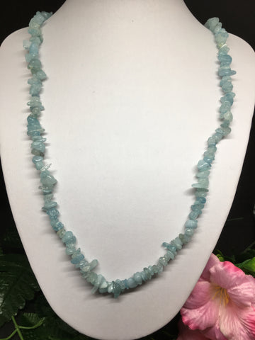 Aquamarine Chip Necklace 90cm
