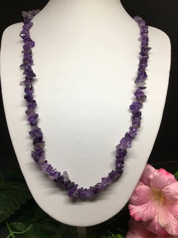 Amethyst Chip Necklace 90cm