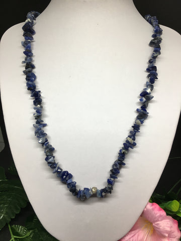 Sodalite Chip Necklace 90cm