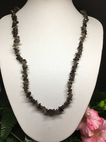 Smoky Quartz Chip Necklace 90cm