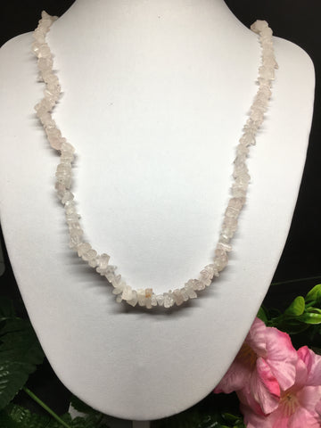 Rose Quartz Chip Necklace 90cm