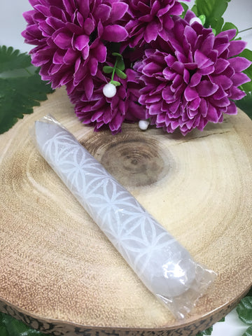 Flower Of Life Selenite Wand With Point