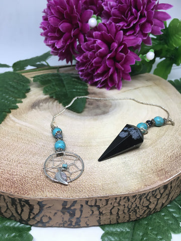 Snowflake Obsidian Dream Catcher Pendulum