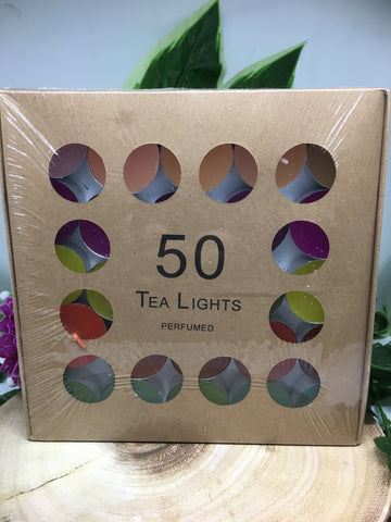 50 Coloured & Perfumed Tea Lights