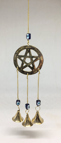 Brass Pentacle with Evil Eye & Bells