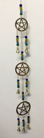 3 Brass Hanging Pentacles