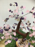 Amethyst & Rose Quartz (with Lotuses) Inner Peace Gem Tree