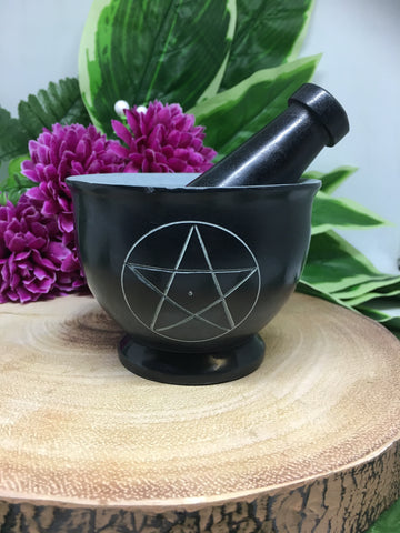 "3.5"" Black Pentacle Mortar & Pestle"