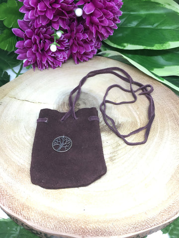 Tree of Life Suede Brown Pouch