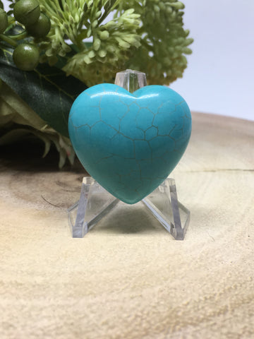 Blue Howlite Puff Heart - 30mm