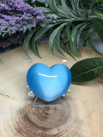 Blue Turquoise Cats Eye Puff Heart - 45mm