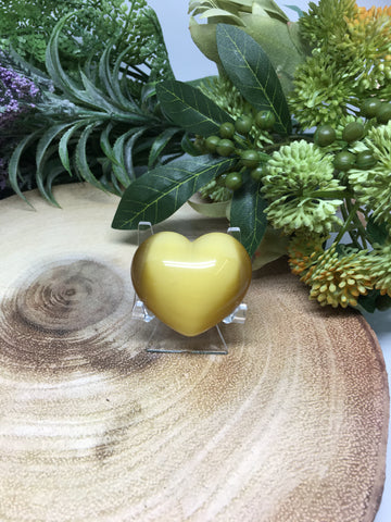 Dark Yellow Cats Eye Puff Heart - 45mm