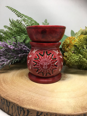 "3"" Carved Red Sun Oil Burner"