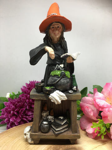 Witch with Cauldron Statue
