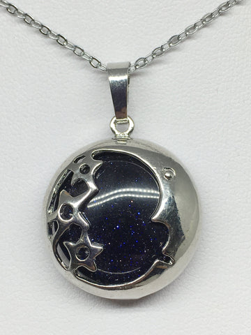 Moon & Stars Blue Goldstone Pendant - Silver Plated