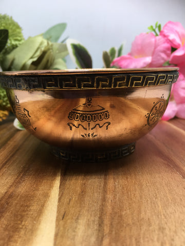 Auspicious Symbols Copper Bowl